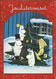 Moomin Christmas card Christmas Teddy Bear, Old Christmas, Christmas Is Coming, Christmas And New Year, Christmas Cards, Tove Jansson, Bear Illustration, Finding Neverland, Anime Japan