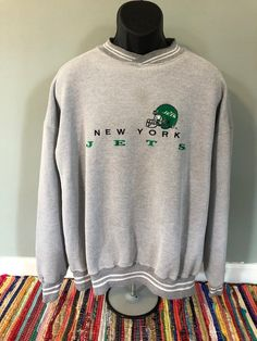 e43a585d938e 80s New York Jets Sweatshirt Vintage Spellout Logo NFL Football Embroidered  Sam Darnold Starter Pullover Jersey Helmet Russell Athletic XXL