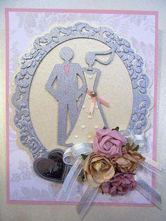 Bride and Groom in embossed silver frame handmade Wedding or Bridal Shower card