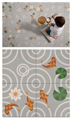 4 different tiles pattern to make a variable floor. spanish collective mut design studio + atelier presented 'drops', a concrete tile concept for valencia-based manufacturer entic designs at salone satellite 2012.