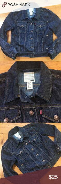 Levi Jean Jacket Excellent condition I don't think it was ever worn small buttons up the front 19 inches long 17 inch bust 22 inch sleeve 100% cotton wonderful basic size small petite super cute Levi's Jackets & Coats Jean Jackets