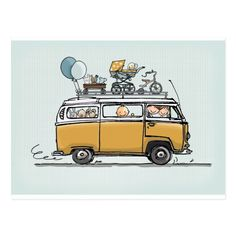 Vintage Volkswagen bus with baby Vw Bus, Combi Hippie, Van Drawing, Vw Minibus, Volkswagen Type 3, Vw Camping, Glamping, Bus Art, Classic Cars