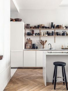 Luxury Kitchen modern kitchen with curated collection of ceramics on open shelves. / sfgirlbybay - even though ceramics and pottery have been around since like, what, the caveman days, i feel like it's been having this real renaissance of late. Luxury Kitchens, Home Decor, Farmhouse Style Kitchen, Italian Home Decor, Modern Kitchen Interiors, Best Kitchen Designs, Kitchen Style, Modern Decor, Luxury Kitchen Design