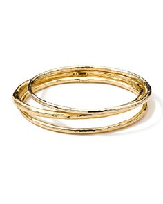 Ippolita - Hammered 18k Gold Bangles, Set of 3/ ... 18k