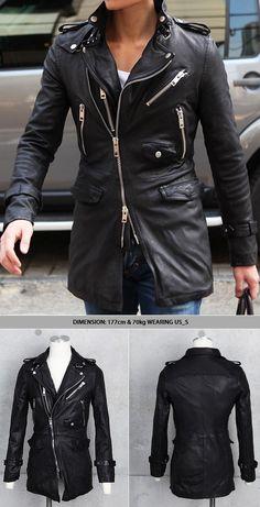 Mid-length Rider Coat Jacket 5size-Leather 18 - GUYLOOK