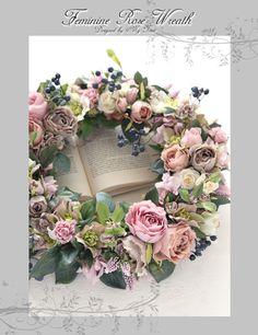 フェミニンローズリース Feminine Rose Wreath #リース#アートフラワー#玄関リース#フェミニン#フェミニンデコ