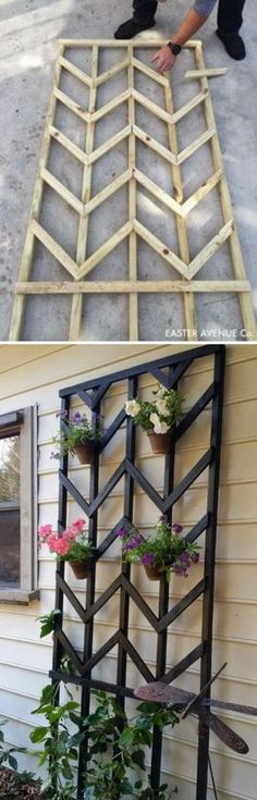 Awesome DIY Garden Trellis Projects DIY Chevron Lattice Trellis With Tutorial. Backyard Projects, Outdoor Projects, Garden Projects, Diy Projects, Backyard Ideas, Landscaping Ideas, Outdoor Ideas, Waterfall Landscaping, Farmhouse Landscaping