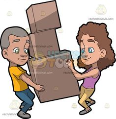 A Couple Helping Each Other Move Some Heavy Boxes :  A man with gray hair wearing a yellow shirt denim jeans and gray pants carrying three big brown boxes with the help of his wife with curly brown hair wearing a pink sleeveless top light yellow leggings and gray flats  The post A Couple Helping Each Other Move Some Heavy Boxes appeared first on VectorToons.com.