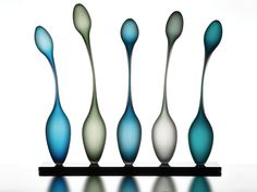 Longnecks Blue by Danish glass artist Trine Drivsholm