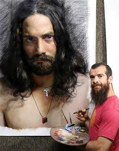 """Cesar Santos, """"Jesus Stereotype"""", oil and charcoal on linen, in. Cesar Santos, Atelier D Art, Oil Portrait, Portrait Paintings, Realistic Paintings, Illustration, Figure Painting, Art Studios, Painting Techniques"""
