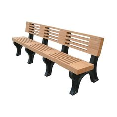 Outdoor Polly Products Elite Recycled Plastic Backed Bench Black Brown
