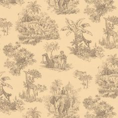 This Beige Safari Toile Wallpaper Wallpaper is great for any home in need of a bit of space. Exotic animals in their safari settings will add a focal point to your walls.
