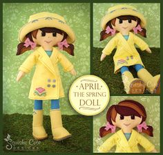 SquiskycuteDesigns $ 14.42 Doll Sewing Pattern PDF - Felt Rag Doll Pattern - Includes Doll Clothes Patterns - April the Spring Doll