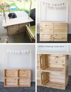 DIY Market Stand for Dramatic Play - Little Lifelong Learners Ikea kids play hack DIY Market Stand for Kids Play ideas for toddlers, preschool, kindergarten Hack Ikea, Market Stands, Play Hacks, Diy Hanging Shelves, Toy Rooms, Imaginative Play, Diy For Kids, Ikea For Kids, Ikea Kids Room