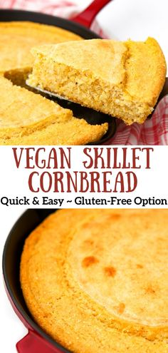 Gluten Free Vegan Cornbread Recipe, Best Vegan Bread Recipe, Easy Cornbread Recipe, Skillet Cornbread, Vegan Recipes For Thanksgiving, Vegetarian Comfort Food, Vegan Recipes Plant Based, Hidden Veggies, Corn Bread