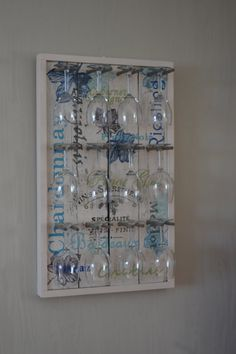 NEW STYLE! Hand Painted Wine Glass Rack with 12 Glasses (Shown in Weathered White/Blue Tones)