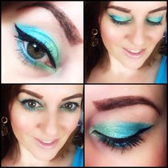 A blue green mixed. Created with one of my urban decay palettes. Makeup with cat eyes.
