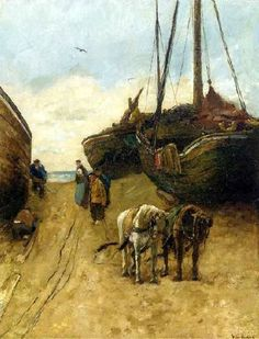 Willem de Zwart (1862-1931). Bomschuiten zijn door paarden op het duin getrokken. Gespannen kijkt vissersvolk naar de mogelijke schade aan de bomschuit. (Coll. Christies.com)