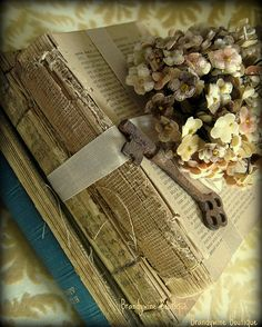 Gorgeous Old Books Tied Up With Ribbon & Flowers!