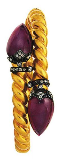 Late 19th Century Pear-Shaped Cabochon Garnet And Rose-Cut Diamond Bangle   -   Christie's