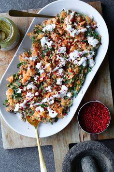 Sweet potato salad with yogurt dressing and honey-goat cheese - Beaufood - - Anisha Howell Salad Recipes