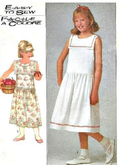 VINTAGE Easy to Sew Girls' Sleeveless Dress by KeepsakesStudio