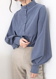 Loose Shirts, Button Up Shirts, Bishop Sleeve, Chiffon Shirt, Chiffon Blouses, Collar Blouse, Blouse Vintage, S Shirt, Casual Tops