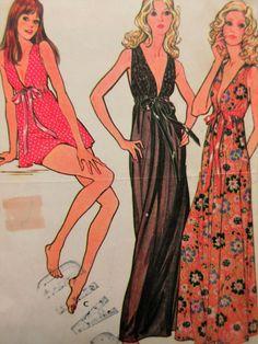 Hübsch: Jahrgang McCalls 3062 Schnittmuster zu machen: vermisst Nachthemd und Slip: hoch taillierte Nachthemd in zwei Längen Schultern, elastische Band Gehäuse gesammelt hat. Höschen, 1 1/4 unterhalb der Taille, Taille und Bein elastisch zu haben. 6 Stück angegeben, datiert 1971.  Vintage-Zustand: Muster geschnitten; BITTE BEACHTEN SIE: STÜCK 5, SCHULTER AUFENTHALT FEHLT HIER; Pinholes möglicherweise in Stücken; Stücke können verfärbt; kleine Löcher oder Risse können in Stücke aber Stücke…