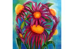 Circle of Purple Flowers Giclée Print