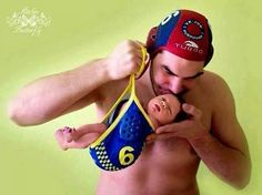 Born to play water polo. So cute Im gonna do this with my kids Waterpolo, Usa Water Polo, Kids Sports Party, Water Polo Players, My Guy, Newborn Photos, Baby Fever, Olympics, Baby Kids