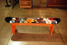 What to do with a broken snowboard?  Hmmm, Joe turned it into a very cool bench!