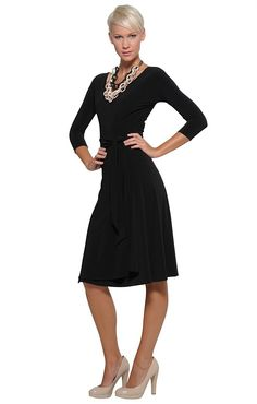 SHOP STRETCH SOLUTIONS - REVERSE WRAP DRESS Reversible Dress, Business Outfits, Frocks, Curves, Wrap Dress, Bomber Jacket, High Neck Dress, Dresses For Work, Lace