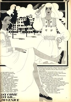 Illustrations in Harpers and Queen, July 1972
