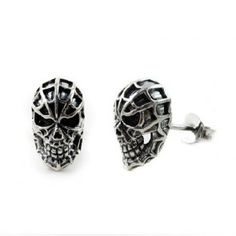 Single Sterling Silver Gothic Spare Man Skull Mens Stud Earring