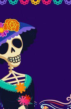 #diademuertos Go Wallpaper, Cellphone Wallpaper, Wallpaper Backgrounds, Holidays Halloween, Halloween Decorations, Middle Finger Emoji, Mexican Halloween, Halloween Art, Day Of The Dead Artwork