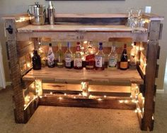 Repurpose palates into an at home bar! Absolutely love this!