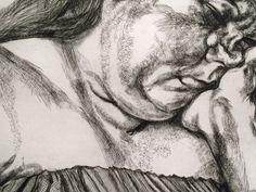 Detail of lucian freud etching, 1996. CROSSHATCHING