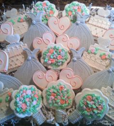 Bridal shower cookies in coral, pink and gray by Willow Tree Cookies