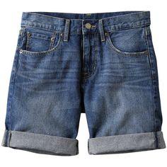 WOMEN Boyfriend Fit Denim Shorts ($6.44) ❤ liked on Polyvore featuring shorts, bottoms, short, pants, women, denim short shorts, short shorts, cotton shorts, uniqlo shorts and boyfriend jean shorts
