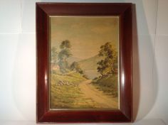 Vintage Very Old Lake View Countryside Print in Nice Wood Frame