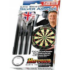 De #Harrows #Darts Eric Bristow Silver Arrows Steeltip #dartpijlen zijn in Engeland gemaakt. De darts zijn vernoemd naar dartslegende Bristow. #dws