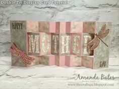 Double Tri Display Card Tutorial by Amanda Bates at The Craft Spa. Stampin Up UK demonstrator and Blogger. Using Falling in Love, Dragonfly Dreams, Large Leters and Window Shopping.
