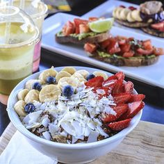 banana, strawberries, blueberries, coconut... and (?)