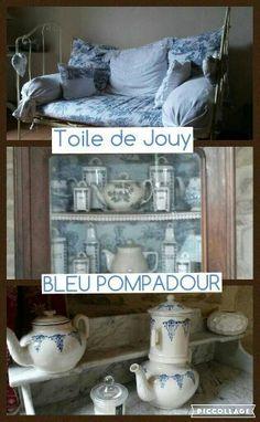 Bureau et boudoir en bois,  blanc et bleu. Tissu imprimé toile de Jouy. Vaisselle chinée. Lovely Laurence,  Lyon,  France