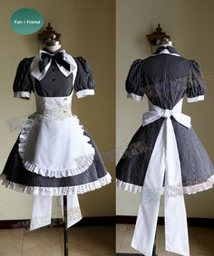 Get a set of punk lolita cafe maid uniform here, handmade with high quality fabric, custom size available. Maid Cosplay, Lolita Cosplay, French Maid Dress, French Maid Costume, French Maid Uniform, Cafe Uniform, Victorian Maid, Estilo Lolita, Maid Outfit