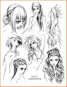 Faces/hair sketches