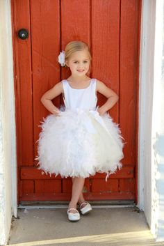 Flower Girl Dress -  Feather Tulle Dress - France - I think this would be cute with a green sash