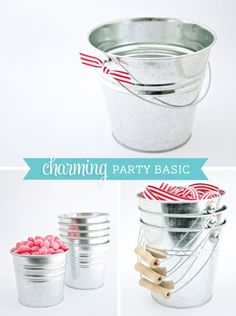 Party Basics: Galvanized Metal Buckets or Pails in various sizes  {small ones are $0.79 at IKEA}