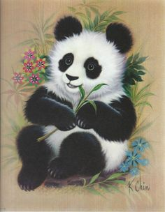 Vintage K Chin Lithograph, Vintage Lithograph, Vintage Panda Lithograph, Panda Litho, K Chin Vintage Bear Pictures, Animal Pictures, Cute Pictures, Niedlicher Panda, Cute Panda, Panda Bear Tattoos, Art Encadrée, Baby Animals, Cute Animals