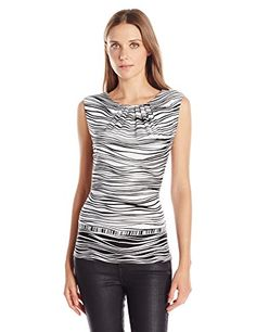 Calvin Klein Womens Knit Cami BlackWhite Large >>> Read more reviews of the product by visiting the link on the image.